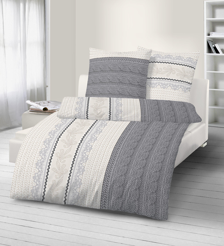 4 teilig fein biber bettw sche 135x200 cm grau anthrazit beige baumwolle b ware ebay. Black Bedroom Furniture Sets. Home Design Ideas