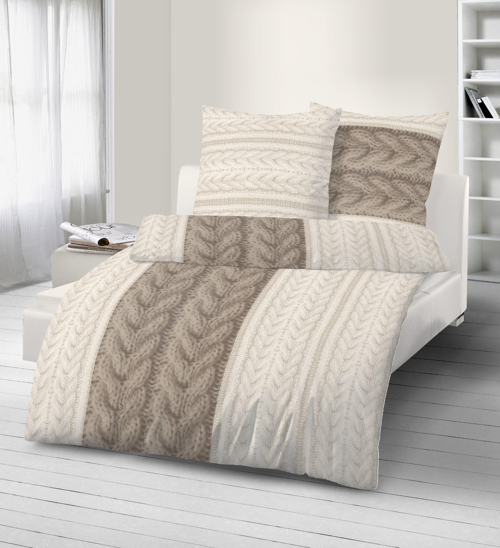 4 teilig bettw sche 135x200 cm winter taupe beige biber baumwolle b ware neu ebay. Black Bedroom Furniture Sets. Home Design Ideas