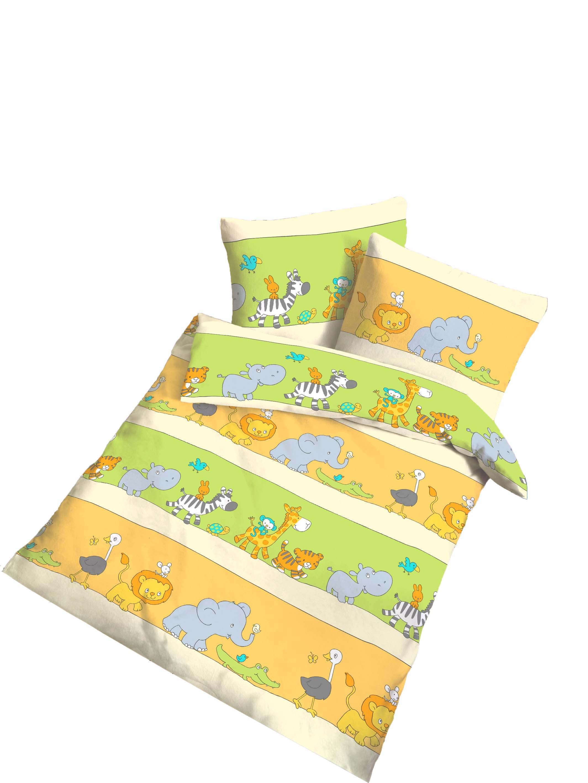 Baby Bettwäsche Set 80x80 Cm Und 35x40 Cm Tiere Bunt Baumwolle B Ware