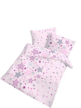 Baby Bettwäsche 80x80 cm und 35x40 cm Sterne rosa Biber Baumwolle B-Ware Set – Bild 1