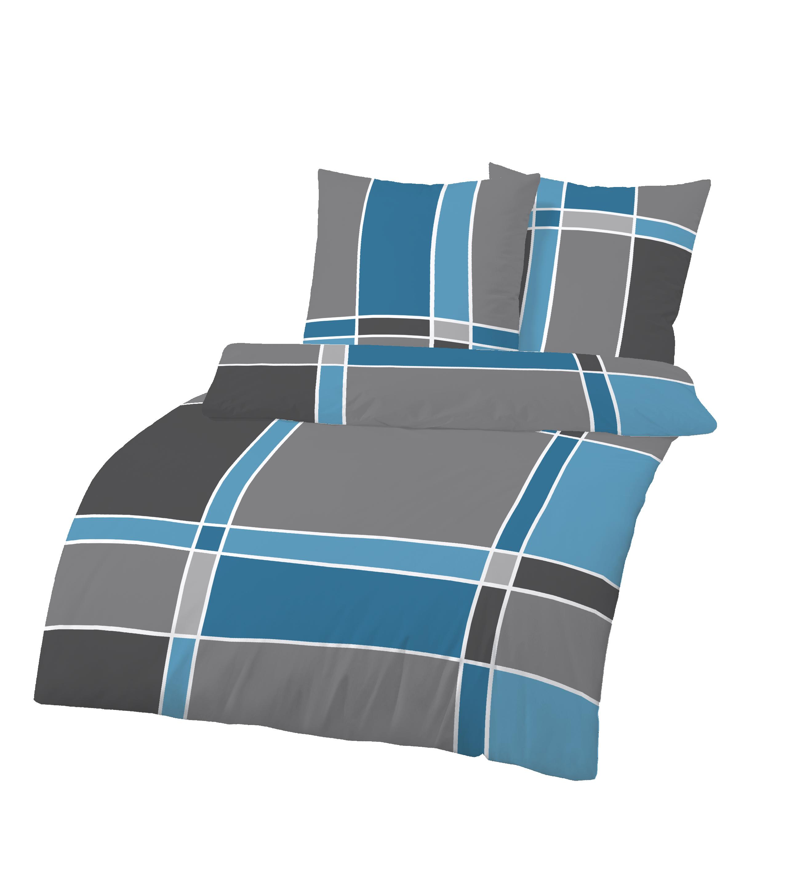 4 teilig biber bettw sche 155x220 cm anthrazit blau bergr e baumwolle b ware ebay. Black Bedroom Furniture Sets. Home Design Ideas