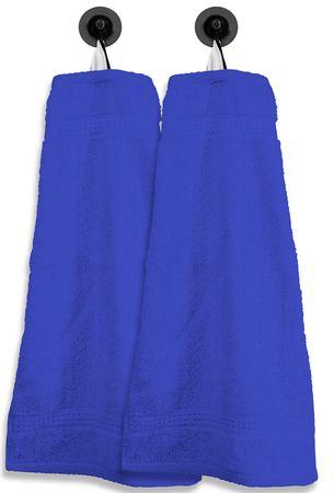 2 Gästetücher Gästehandtücher royalblau 30x50cm Set Baumwolle Handtücher Frottee – Bild 1