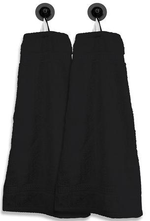 2 Gästetücher Gästehandtücher schwarz 30x50 cm Set Baumwolle Handtücher Frottee – Bild 1