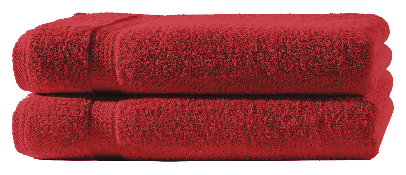 2 Handtucher Rot 50x100 Cm Set Baumwolle Handtuch Frottee Flauschig