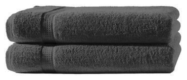 2 Handtücher anthrazit grau 50x100 cm Set Baumwolle Handtuch Frottee weich – Bild 1