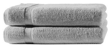 2 Duschtücher silber 70x140 cm Set Baumwolle Frottee Duschtuch Frottiertuch groß – Bild 1