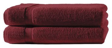 2 Badetücher bordeaux 100x150 cm Set Baumwolle Frottee Badetuch groß XXL weich – Bild 1