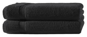 2 Badetücher schwarz 100x150 cm Set Baumwolle Frottee Badetuch groß XXL weich – Bild 1