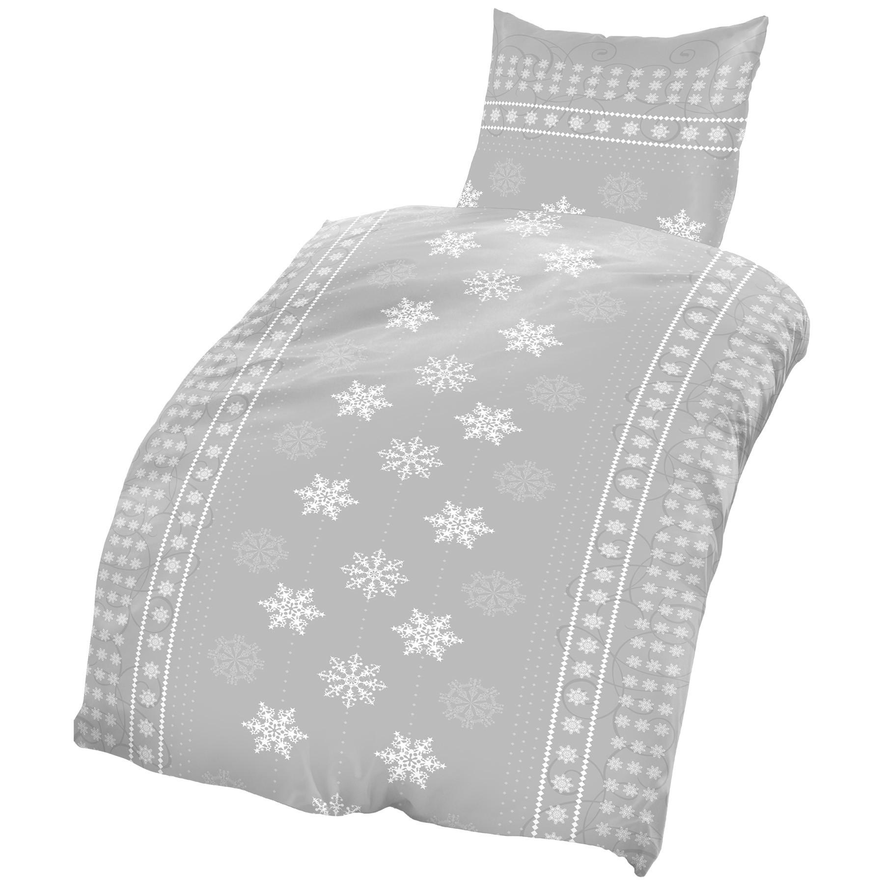 Biber Bettwäsche 135x200 Cm Kristall Schneeflocken Winter Grau Weiß