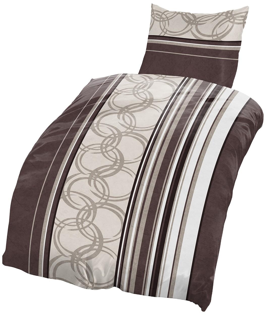 4 tlg biber bettw sche 135x200 cm streifen kreise braun beige baumwolle set neu ebay. Black Bedroom Furniture Sets. Home Design Ideas