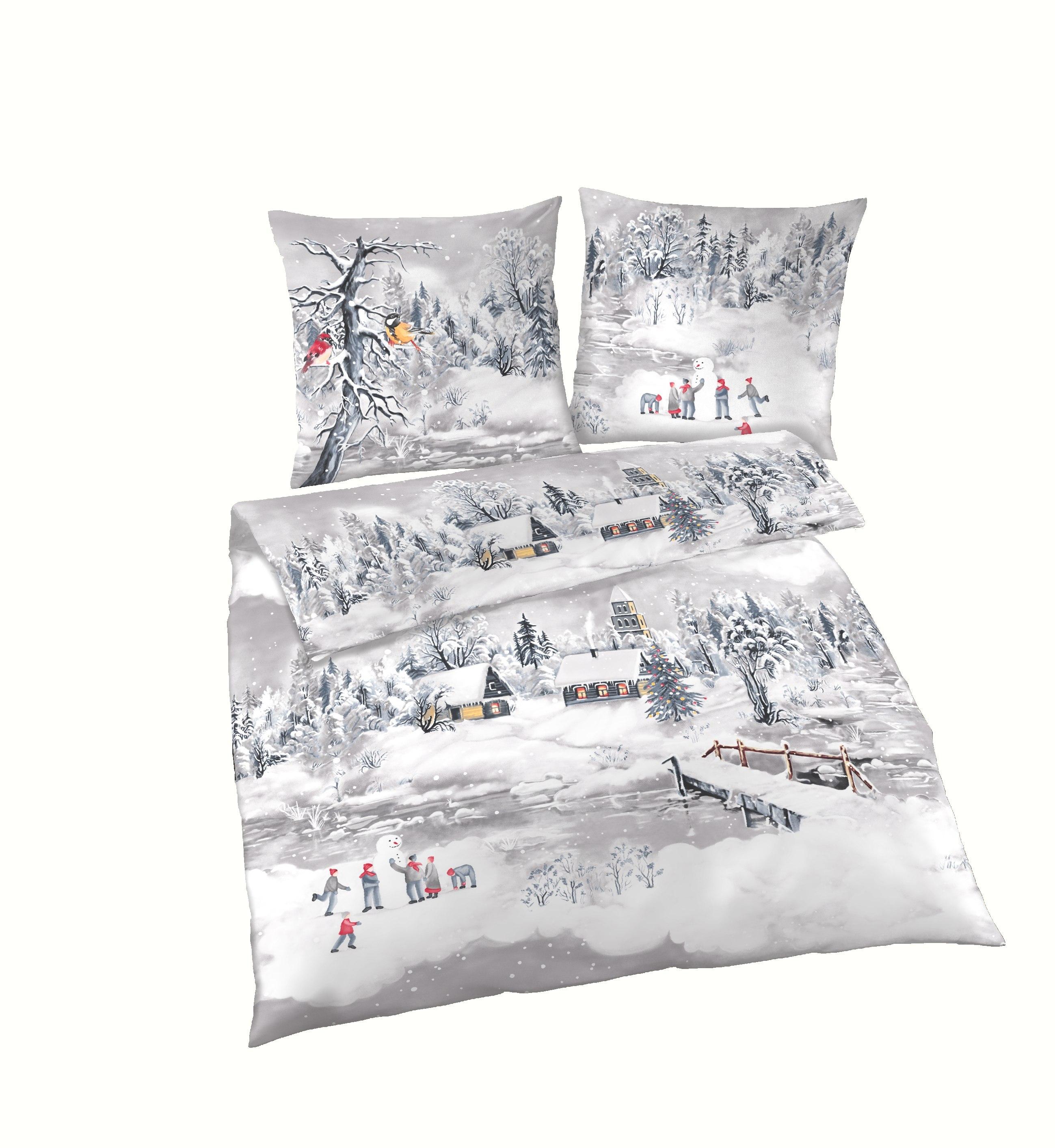 4 tlg bettw sche 155x220 cm winterlandschaft grau fein biber baumwolle b ware ebay. Black Bedroom Furniture Sets. Home Design Ideas