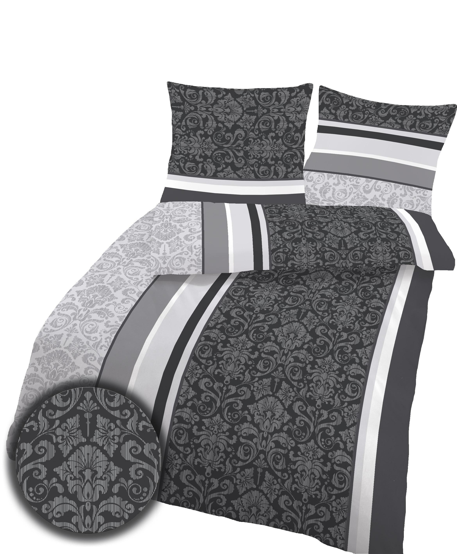 2 tlg bettw sche 155x220 cm barock schwarz bergr e fein biber baumwolle b ware ebay. Black Bedroom Furniture Sets. Home Design Ideas