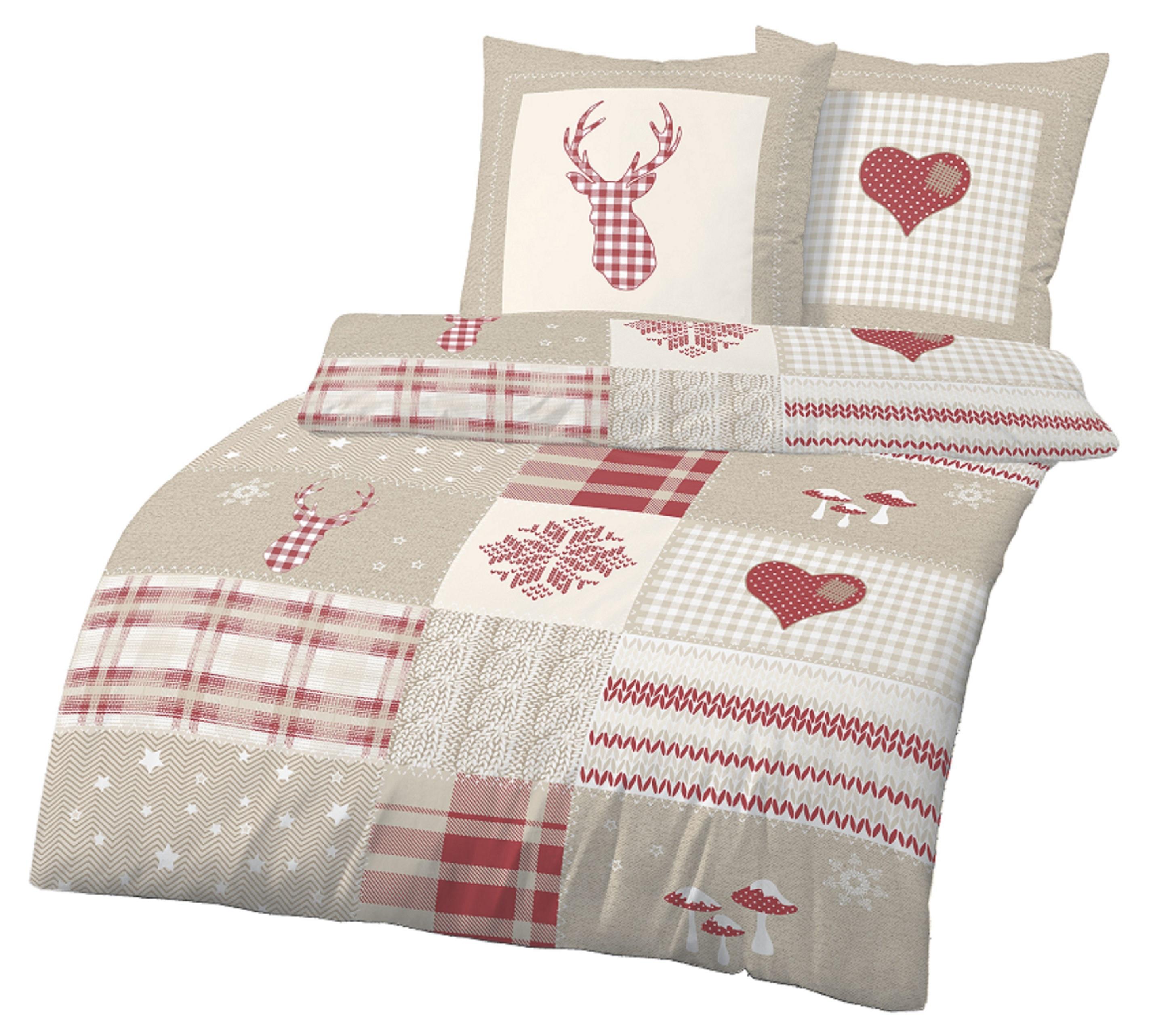 bettw sche 155x220 cm winter beige rot bergr e fein biber baumwolle b ware ebay. Black Bedroom Furniture Sets. Home Design Ideas