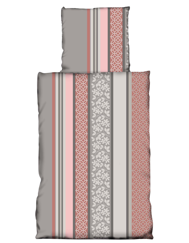 Nicky Teddy Plüsch Bettwäsche Coralfleece 135x200 Cm Rosa Rot Grau