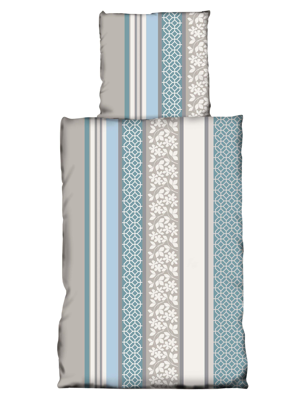 4 Teilig Coralfleece Bettwäsche 135x200 Cm Blau Grau Nicky Teddy