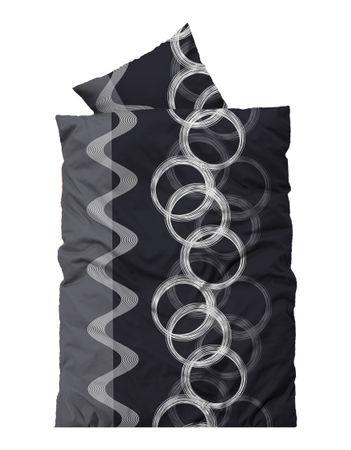 2 teilig Bettwäsche 155x220 cm grau schwarz silber Übergröße Thermofleece Winter – Bild 1