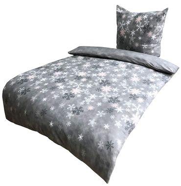 4 teilig Bettwäsche 155x220 cm Kristall Schnee grau weiß Thermofleece Winter Set – Bild 1