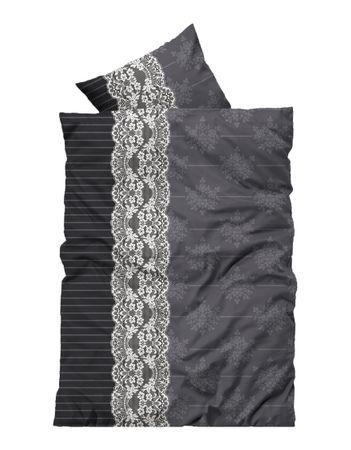 3 teilig Bettwäsche 200x200 cm Ornamente grau schwarz Thermofleece Winter Set – Bild 1