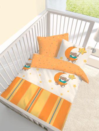 2 tlg Kinder Baby Bettwäsche 100x135 cm Bärchen Teddybär orange Baumwolle B-Ware – Bild 1