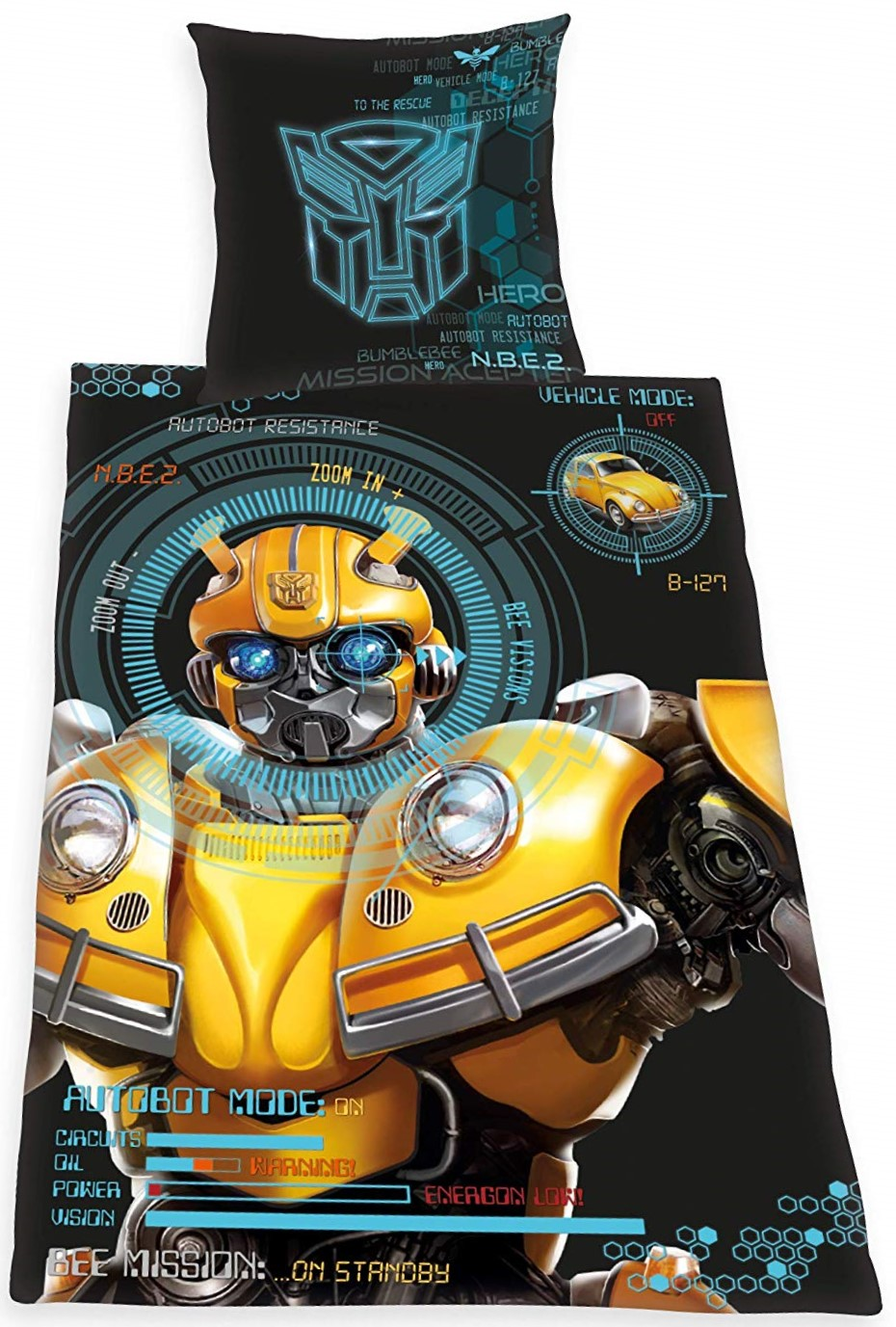 Transformers Bumblebee Bettwäsche 135x200 Cm Renforce Baumwolle