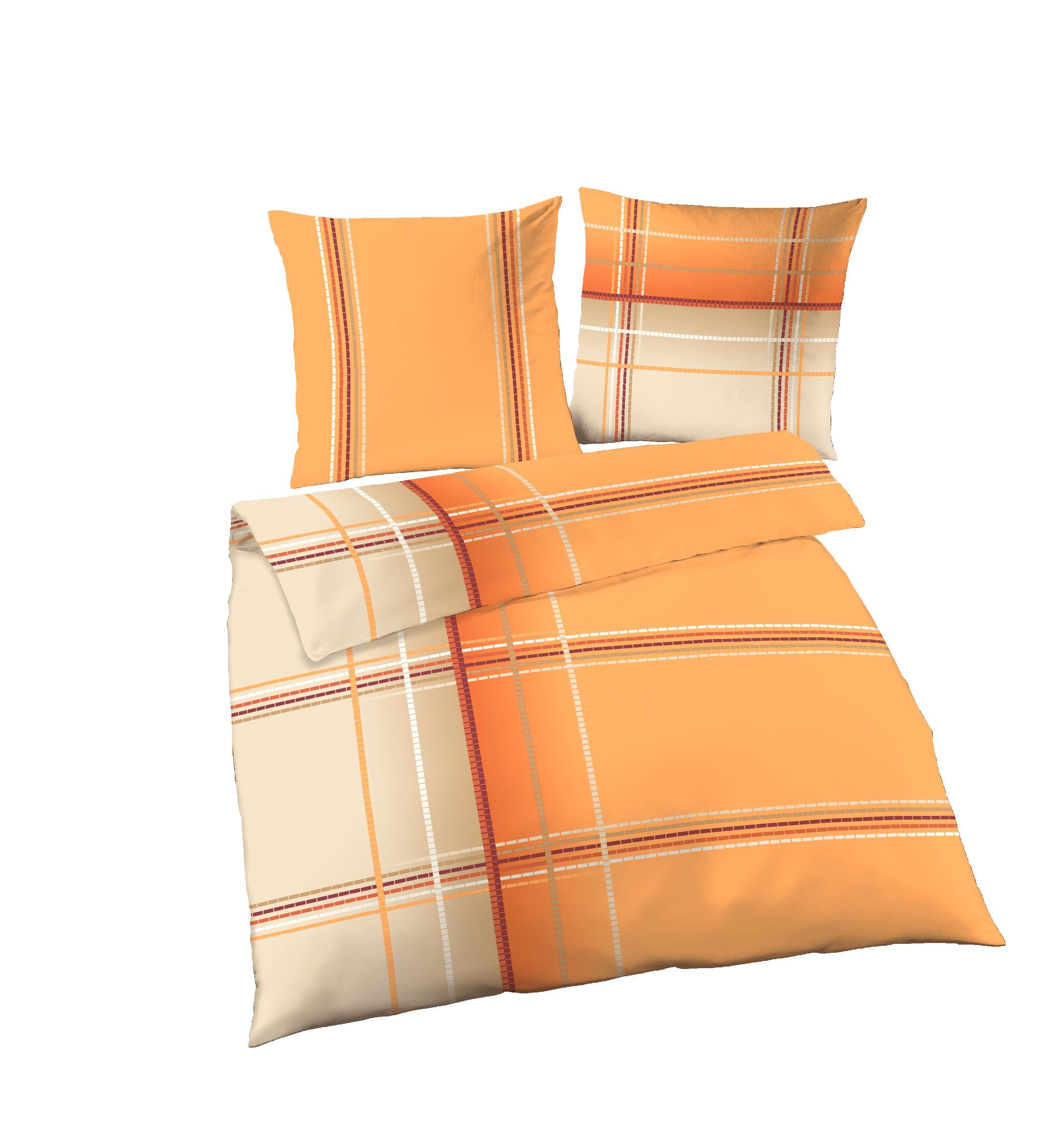 2 Tlg Bettwäsche 155x220 Cm Orange Beige übergröße Fein Biber