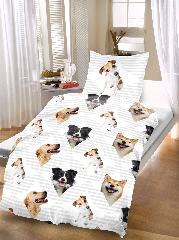 Hunde Bettwäsche 135x200 cm Dogs grau weiß Microfaser B-Ware Set 2 teilig