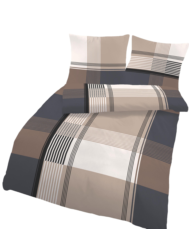 Bettwaren Wäsche Matratzen 4 Teilige Bettwäsche 155x220 Cm Karo