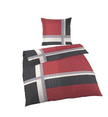 2 tlg Bettwäsche 155x220 cm anthrazit rot Übergröße Fein Biber Baumwolle B-Ware – Bild 1