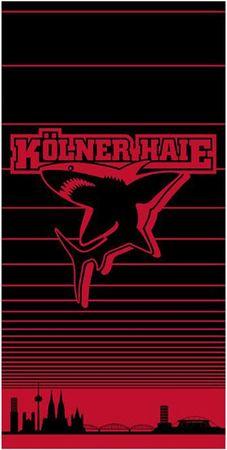 Kölner Haie Handtuch 50x100 cm Streifen schwarz rot Wende Baumwolle Frottee – Bild 1