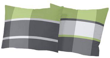 2 x Kissenbezug Kissenhülle 80x80 cm Kariert grün Fein Biber Baumwolle B-Ware – Bild 1