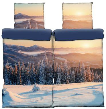 4 teilige Thermofleece Bettwäsche 135x200 cm Winterlandschaft blau weiß Flausch