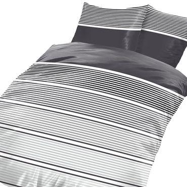 3 teilig Bettwäsche 200x200 cm Streifen anthrazit grau silber weiß Microfaser – Bild 1