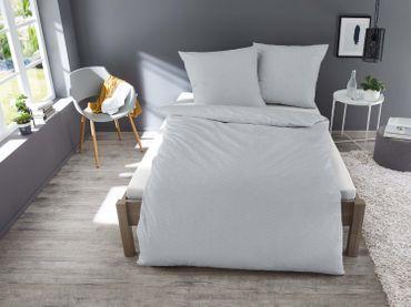 3 teilig Jersey Bettwäsche 200x200 cm silber meliert Melange Baumwolle – Bild 2