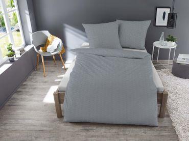 3 teilig Jersey Bettwäsche 200x200 cm grau graphit meliert Melange Baumwolle – Bild 2