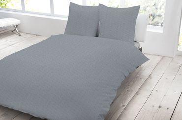 3 teilig Jersey Bettwäsche 200x200 cm grau graphit meliert Melange Baumwolle – Bild 1