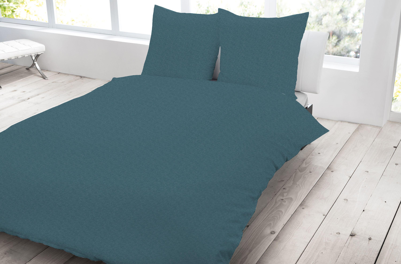 Jersey Bettwäsche 155x220 Cm Petrol Blau übergröße Melange Baumwolle