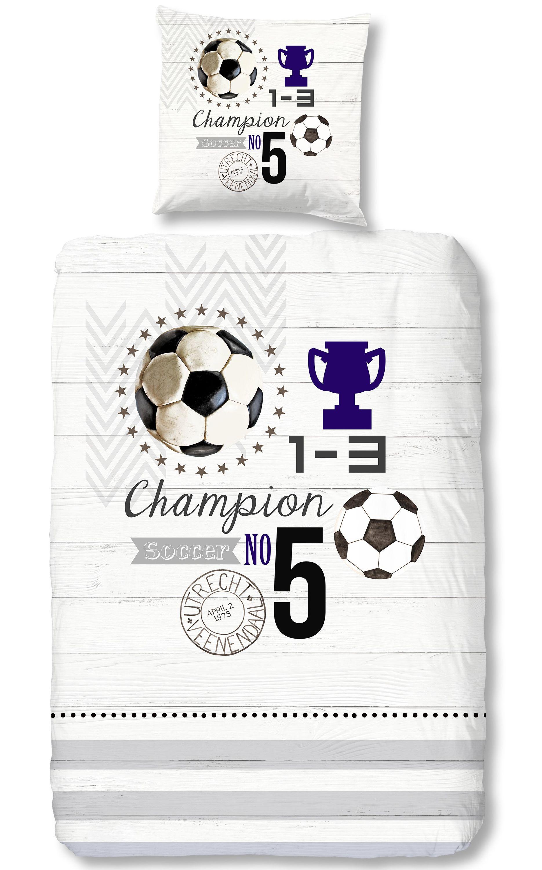 4 Teilige Bettwasche 135x200 Cm Fussball Champion Soccer Grau Silber Baumwolle