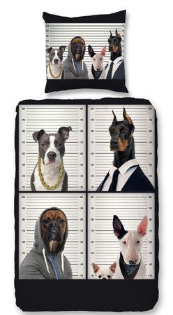 4 teilige Bettwäsche 135x200 cm Bad Dogs Fotodruck weiß schwarz Baumwolle Set – Bild 1