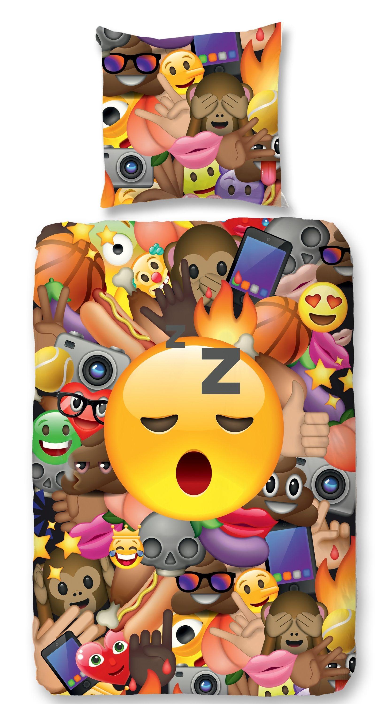 2 teilige kinder bettw sche 135x200 cm emoji icons smiley. Black Bedroom Furniture Sets. Home Design Ideas