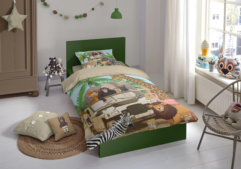 2 teilig kinder bettw sche 135x200 cm zoo elefant l we. Black Bedroom Furniture Sets. Home Design Ideas
