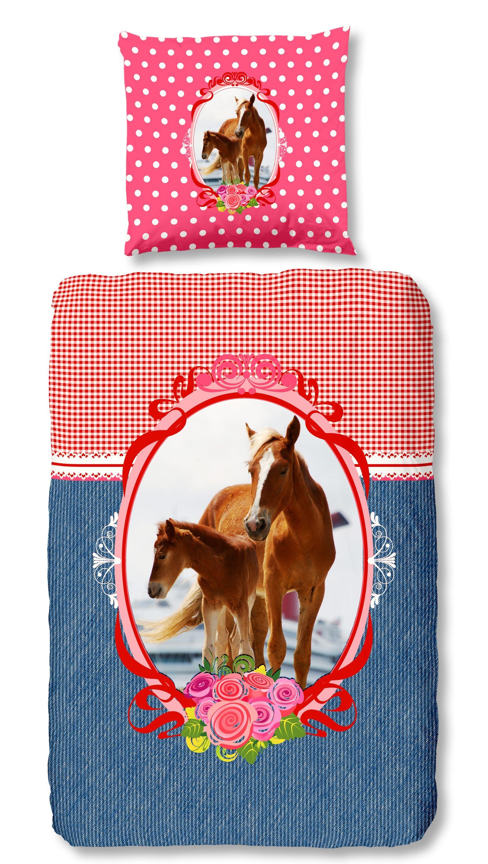 4 Teilige Kinder Bettwäsche 135x200 Cm Rosen Pferde Rot Blau Rosa