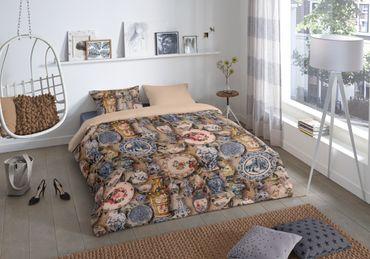 4 teilige Bettwäsche 135x200 cm Antik Vasen sand beige blau Baumwolle Wende Set – Bild 2