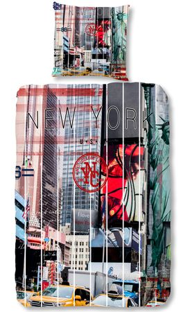 4 teilige Bettwäsche 135x200 cm Freiheitsstatue New York weiß grau Baumwolle Set – Bild 1