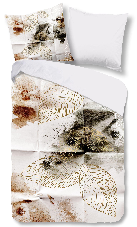 4 Teilige Bettwäsche 135x200 Cm Herbstliche Blätter Weiß Braun