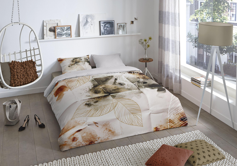 4 Teilige Bettwäsche 135x200 Cm Herbstliche Blätter Weiß Braun Baumwolle Wende