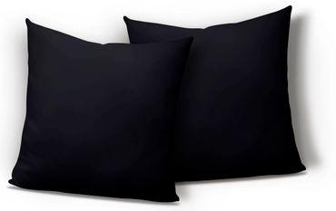 2er Pack Kissenbezug Kissenhülle 40x40 cm schwarz Uni Jersey Baumwolle Set – Bild 1