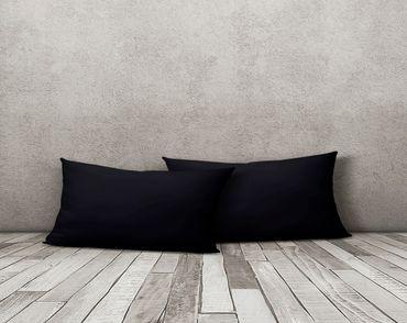 2er Pack Kissenbezug Kissenhülle 40x80 cm schwarz Uni Jersey Baumwolle Set – Bild 2