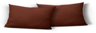 2er Pack Kissenbezug Kissenhülle 40x80 cm braun Uni Jersey Baumwolle Set – Bild 1