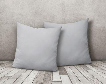 2er Pack Kissen Kopfkissen Bezug Hülle 80x80 cm silber Uni Jersey Baumwolle Set – Bild 2