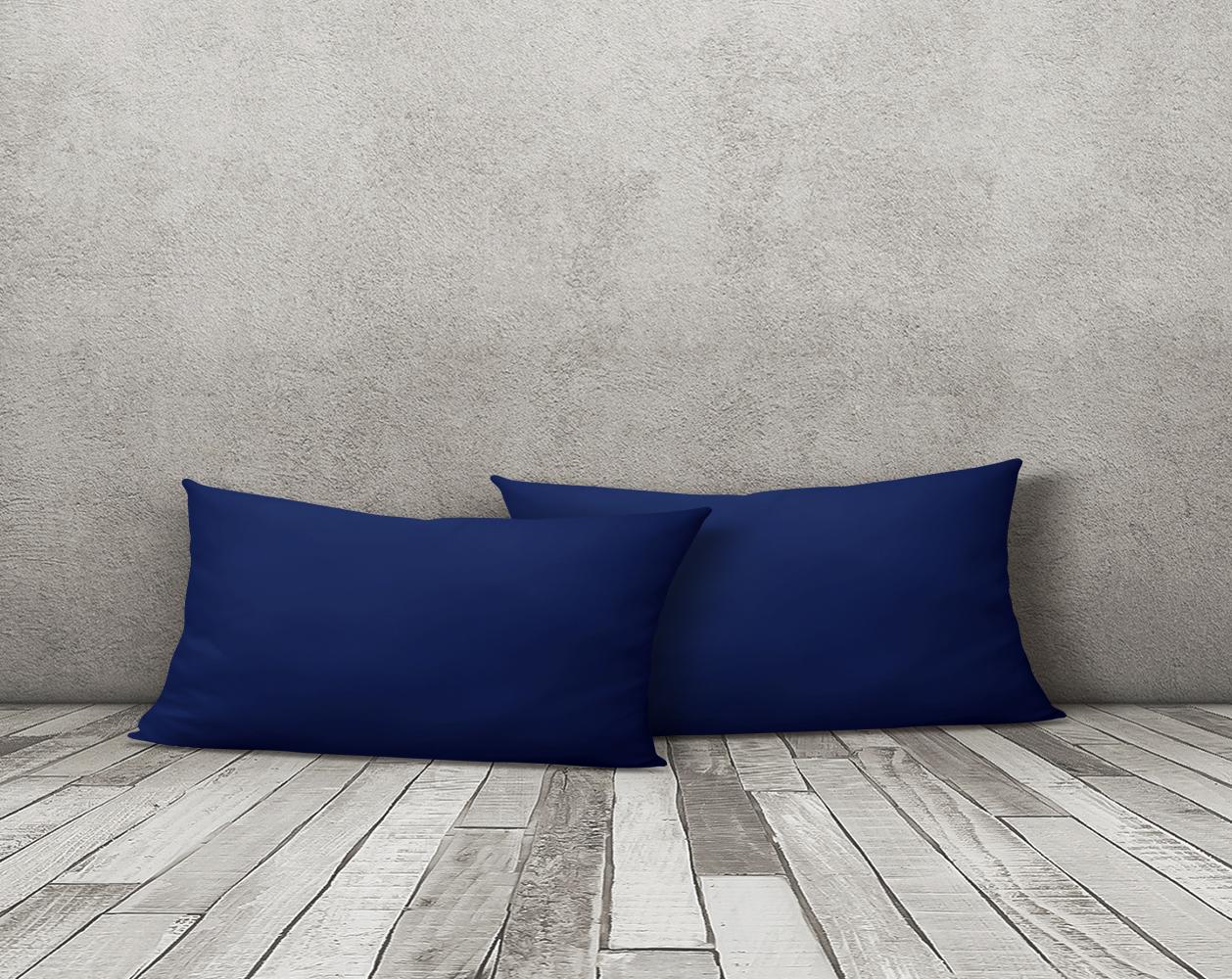 2er Set Kissenbezug Kissenhulle Kopfkissenbezug 40x80cm Navy Blau Uni Microfaser Ebay